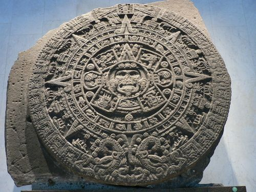 Aztec Calendar Stone.The Aztec Calendar Stone Was Carved From Solidified Lava In The Late