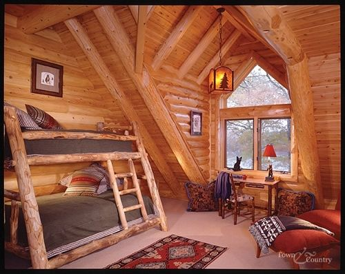 Are Cabin Beds The Solution For Small Bedrooms: Log Cabin Bedroom... Love The Bunk Bed!