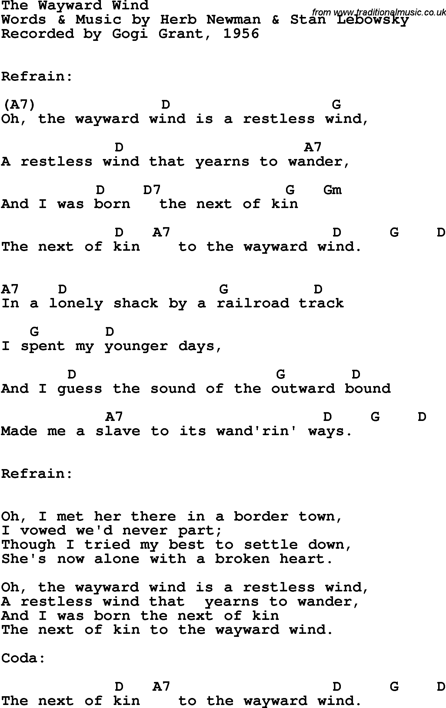 Song Lyrics With Guitar Chords For Wayward Wind The Gogi Grant