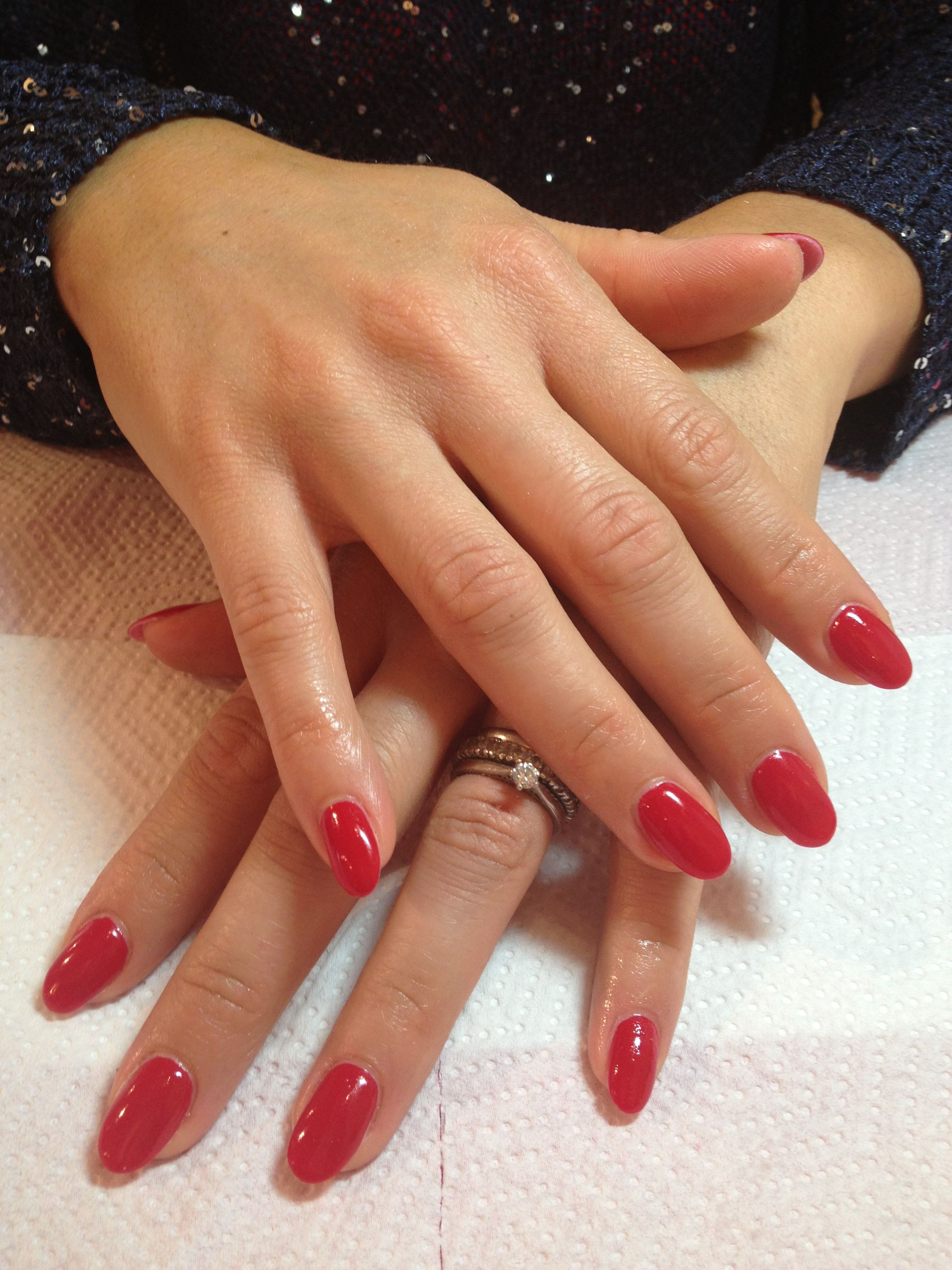 Red almond shape nail manicure gel nails acrylic shellac also pretty in pinterest rh