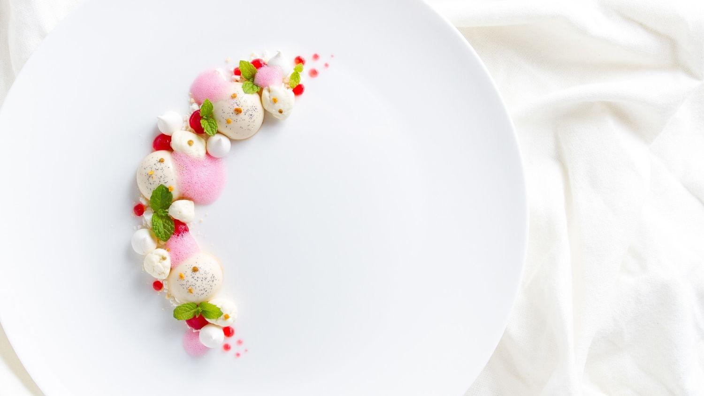 Cardamom panna cotta, berry gel, berry foam, meringue, white chocolate rocks and white chocolate soil