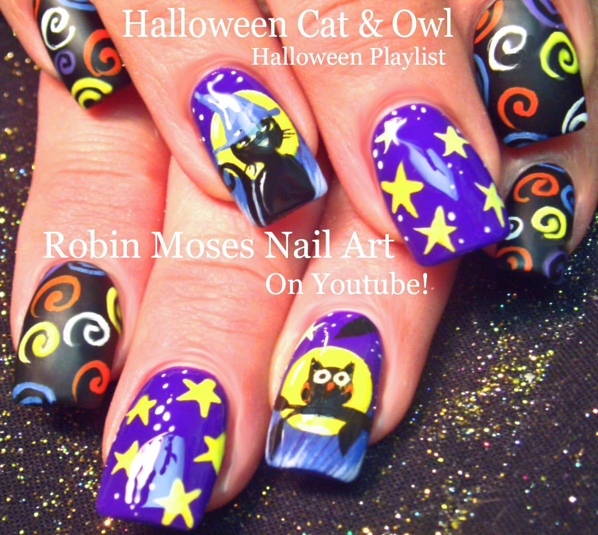 Halloween Nail Art! Spooky Nails! Owls Black Cat Nail Design ...