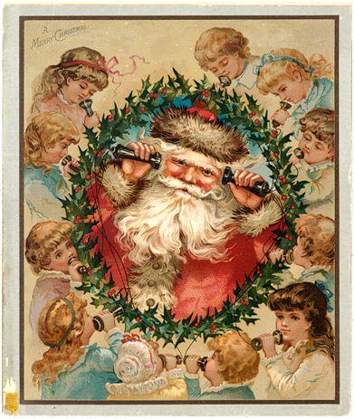 An early Christmas card featuring Santa Claus drawn by Louis Prang ...