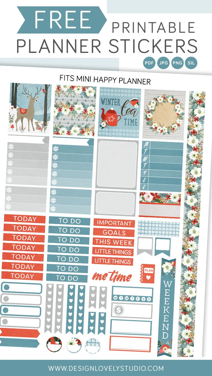 Free printable planner stickers for winter planner spread