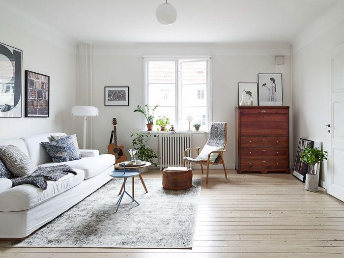 Decoracion de Loft de estilo nordico vintage retro en colores blanco