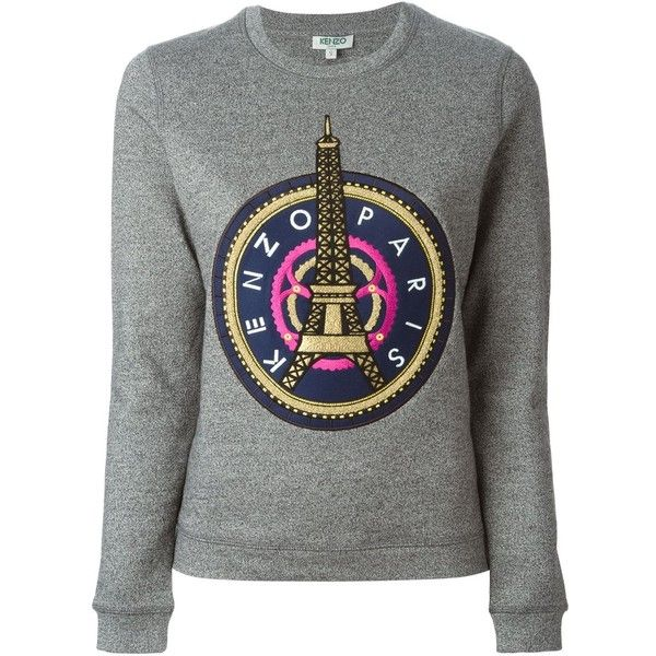 Kenzo 'Eiffel Tower' sweatshirt (1.470 BRL) ❤ liked on Polyvore featuring tops, hoodies, sweatshirts, blusas, sweaters, sweatshirt, grey, embroidered cotton top, gray sweatshirt and long sleeve cotton tops