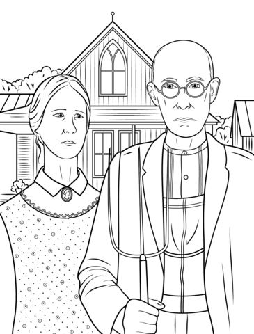 American Gothic By Grant Wood Coloring Page Free Printable Coloring Pages Grant Wood American Gothic Famous Art Coloring American Gothic