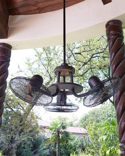 Circulaire Discus 3 Headed Fan Outdoor Ceiling Fans