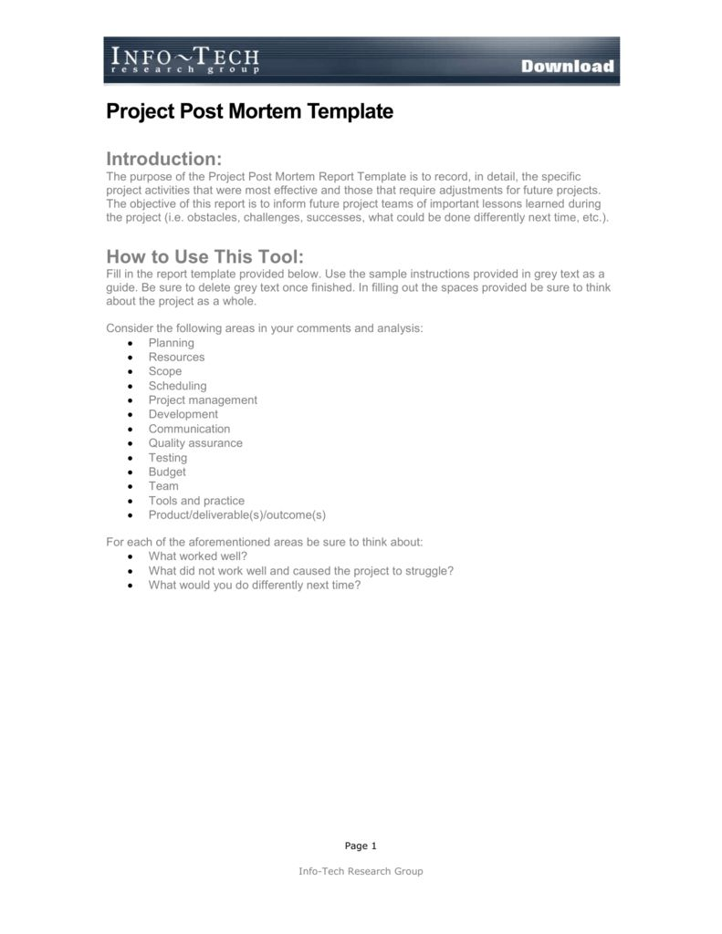 Project Post Mortem Template Throughout Project Analysis Report Template Best Sample Template Post Mortem Report Template Templates Project management post mortem template