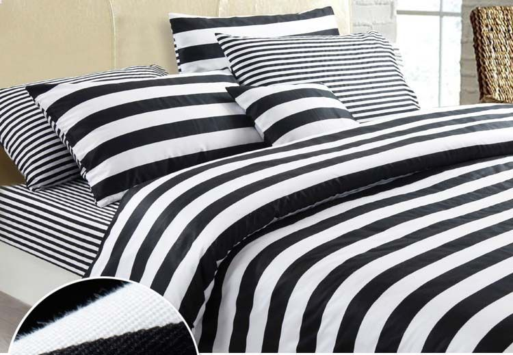 New Fashionable Black And White Series Stripes 100% Cotton 4pcs Comforter/ Duvet Cover Bedding Set Queen/King/B2293 Air Shipping