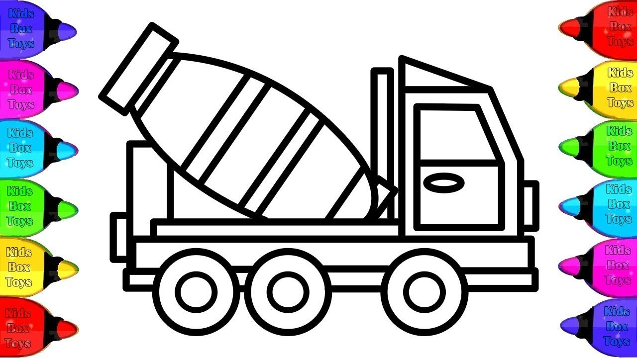 Cement Mixer Truck Coloring Pages How To Draw And Coloring