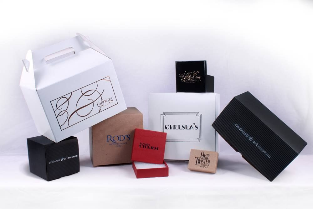 A variety of foils and boxes hot stamped with our in house