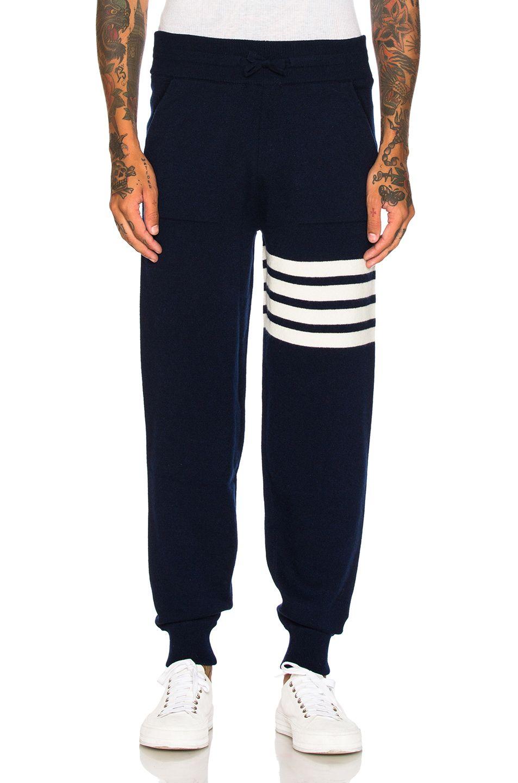THOM BROWNE Cashmere 4 Bar Stripe Sweatpants. #thombrowne #cloth #