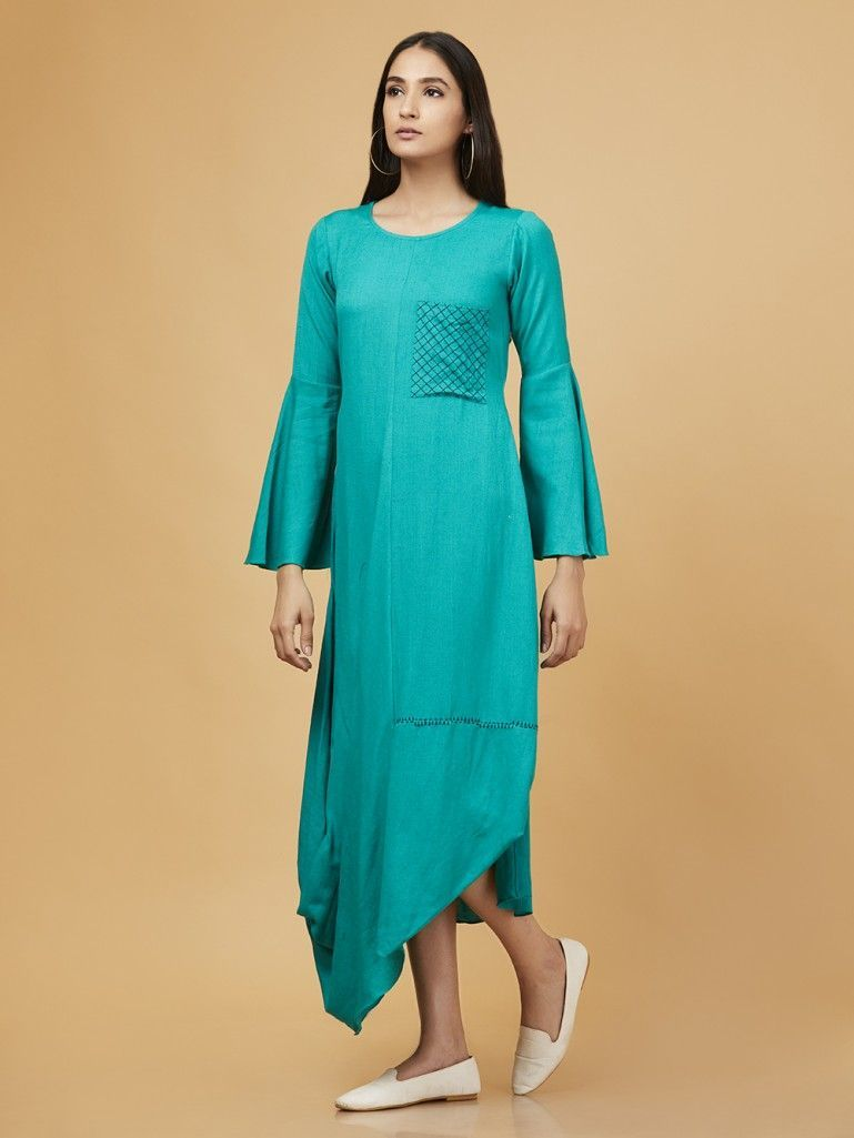 Buy Green Cotton Linen Cowl Dress online at Theloom 48f3e58890