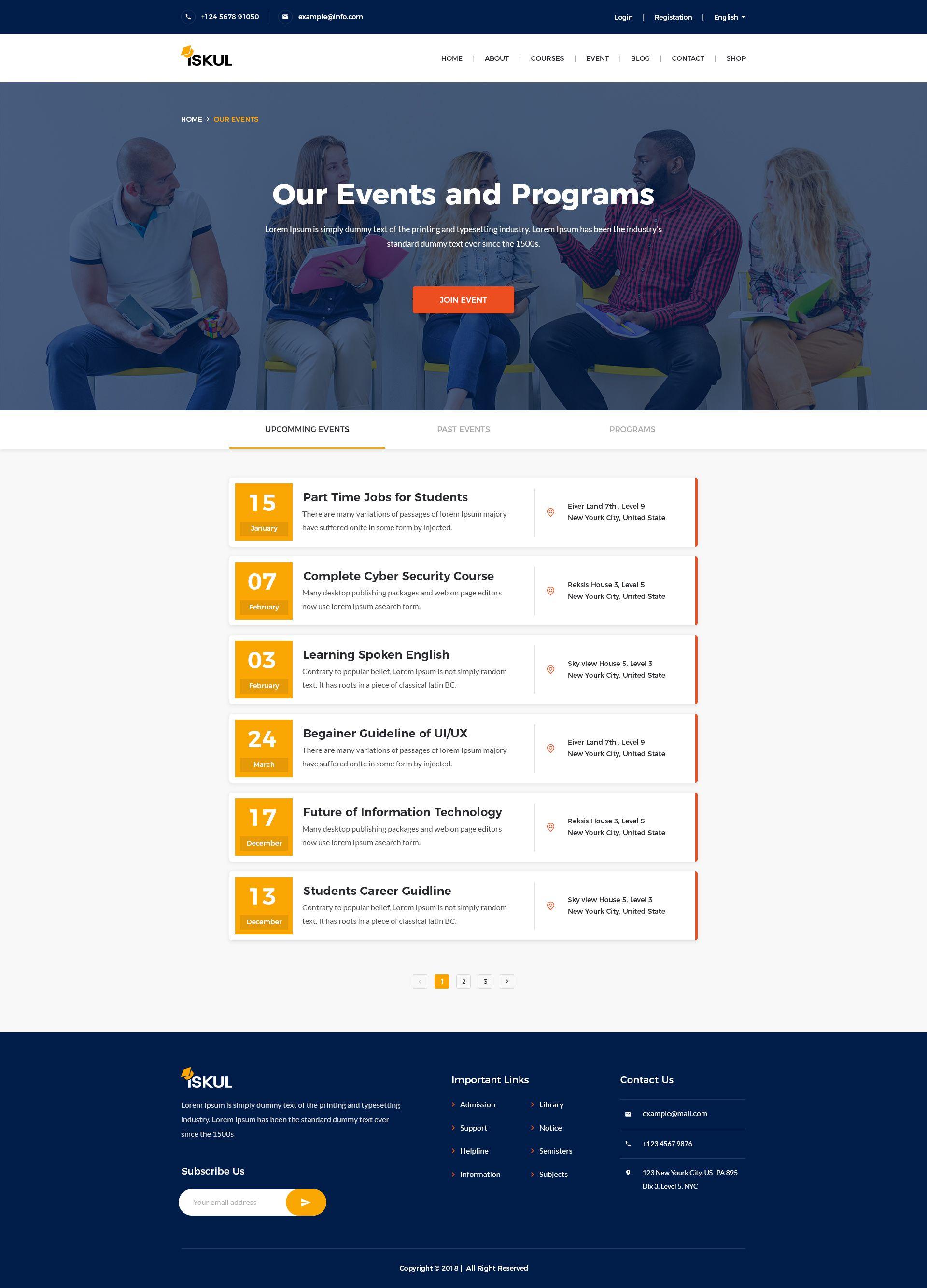Iskul Educational Site Psd Template Website Design Courses Psd Templates Educational Websites