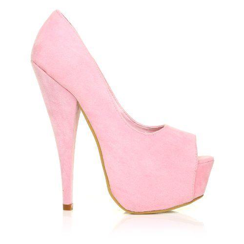 cbf512791cac PEEPTOE Baby Pink Faux Suede Stiletto Very High Heel Platform Peep Toe  Shoes ShuWish UK http