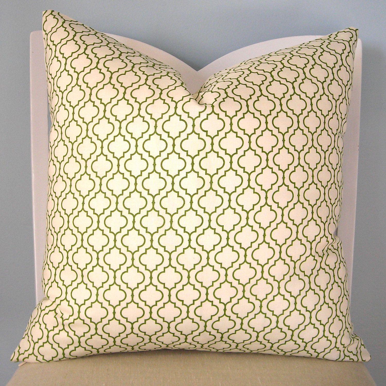 Metro Living Moroccan Tile Green/White Pillow Cover 20 x 20. $25.00, via Etsy.