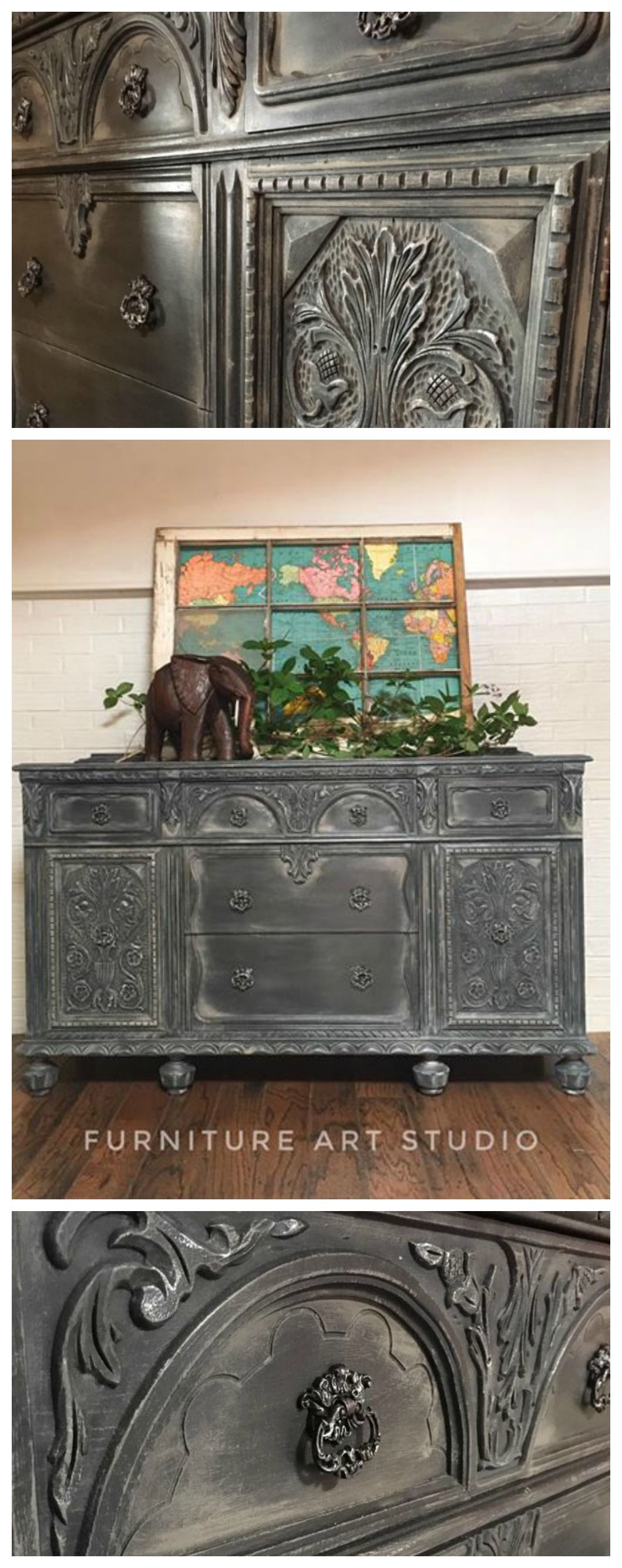 This Stunning Buffet Painted By Furniture Art Studio In Toledo Ohio Is A Show Stopper F Black Painted Furniture Reclaimed Painted Furniture Flipping Furniture