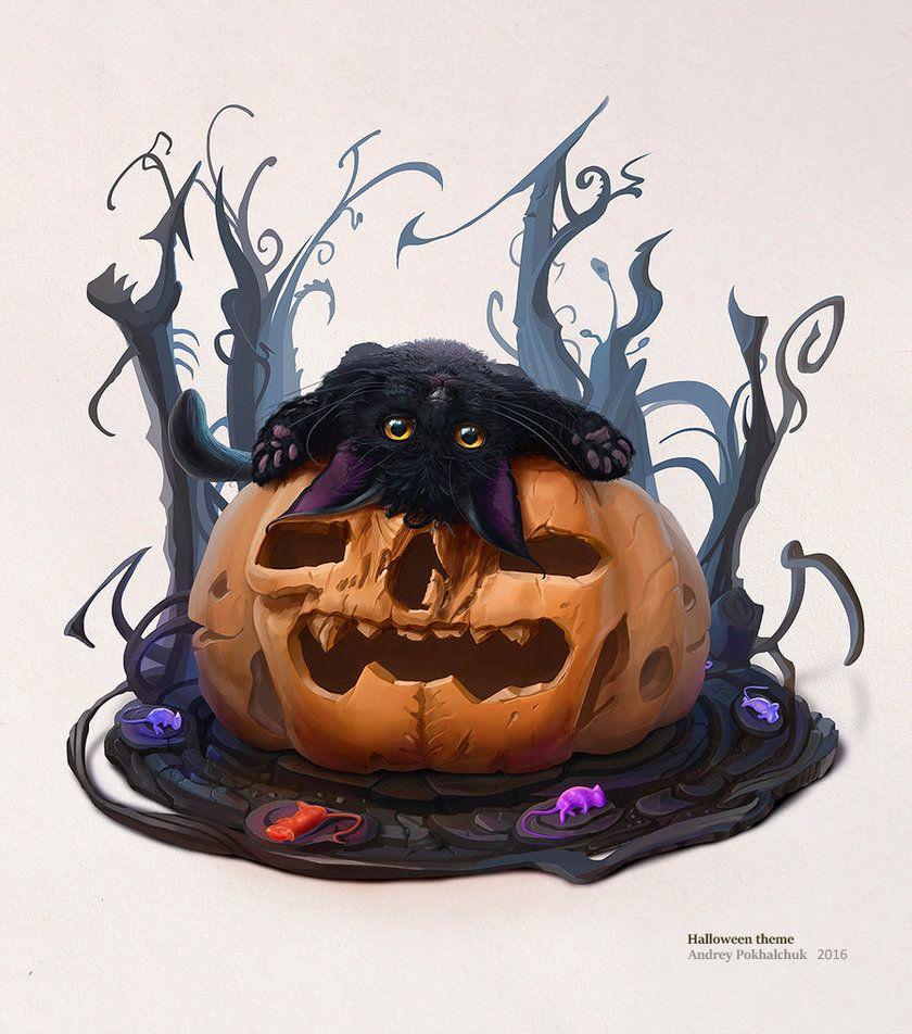 Halloween theme (cat 1) 26 10 2016 by An9reyART.deviantart.com on @DeviantArt