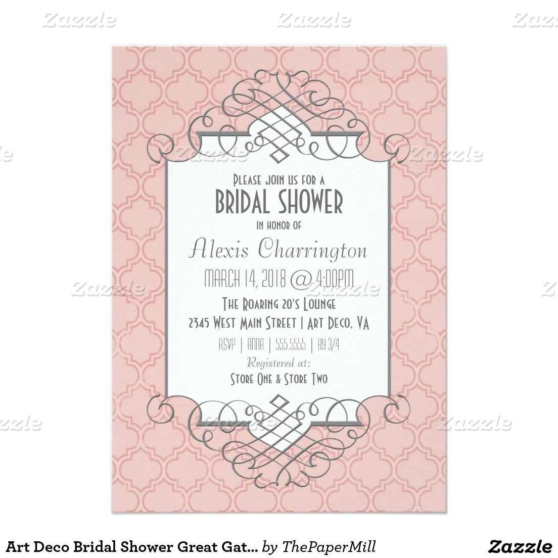 Art Deco Bridal Shower Great Gatsby Style 5x7 Paper Invitation Card