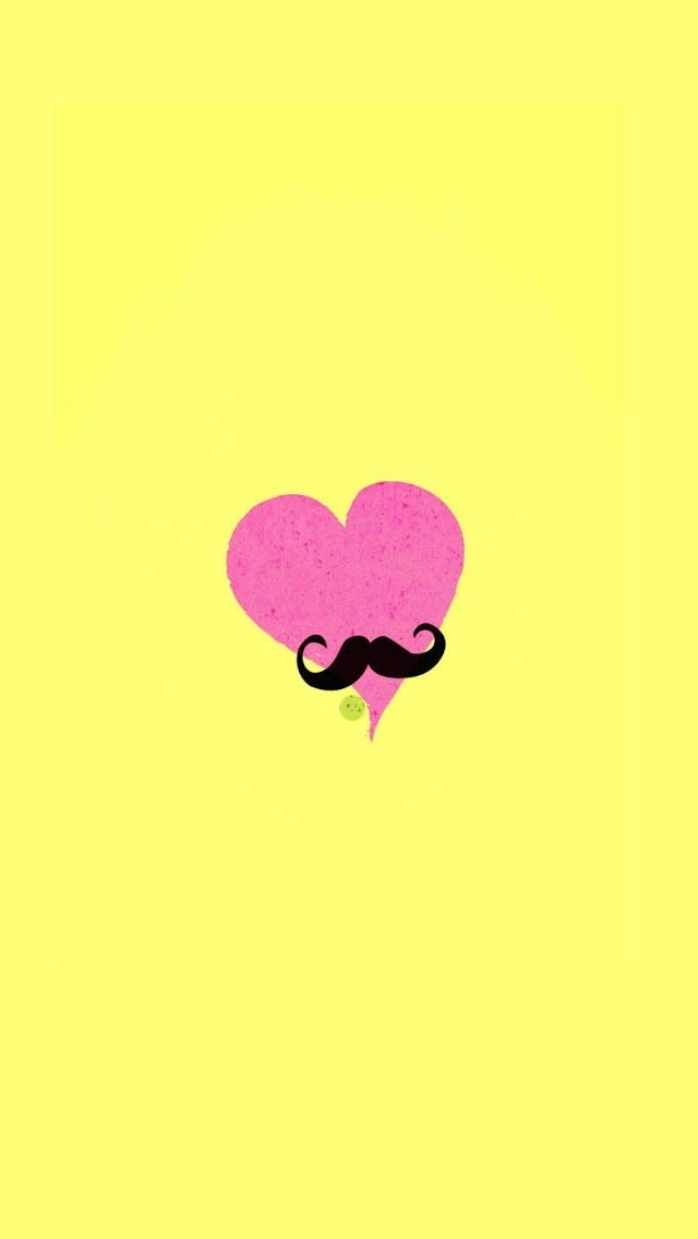 Pink Heart With Mustache IPhone Wallpaper Background Tumblr Backgrounds Iphone Wallpapers