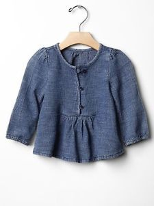 GAP Baby / Girl Size 3-6 Months NWT Blue Denim Tunic / Shirt / Top / Blouse