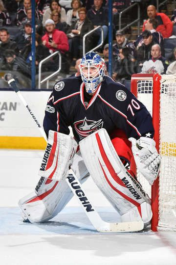 COLUMBUS, OH - FEBRUARY 25: Goaltender Joonas Korpisalo #70 of the Columbus Blue Jackets defends the net against the New York Islanders on February 25, 2017 at Nationwide Arena in Columbus, Ohio. (Photo by Jamie Sabau/NHLI via Getty Images)