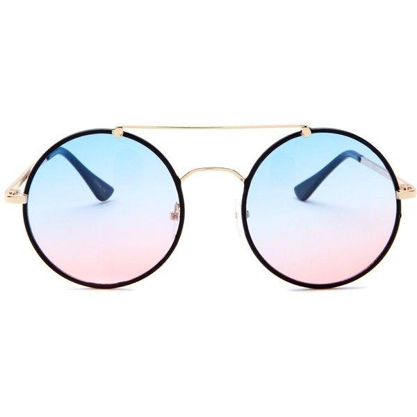 f7cb0e015 Betsey Johnson Women's Round Brow Bar Sunglasses ($20) ❤ liked on Polyvore  featuring accessories, eyewear, sunglasses, black, tortoise glasses,  gradient ...