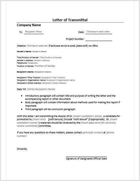 10  letter of transmittal templates