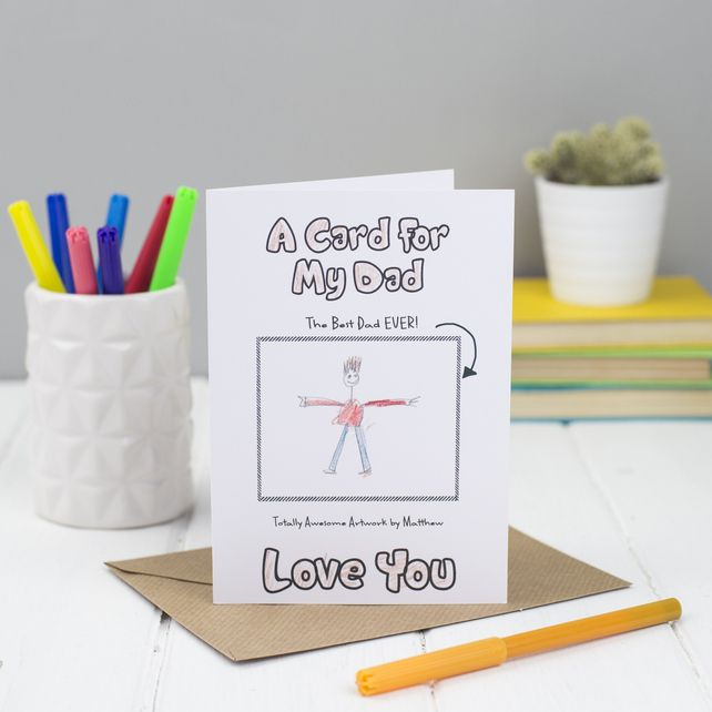 This is a really cute card for a child to give to their dad on father's day. It has a blank portrait box where your child can create their own amazing artwork.