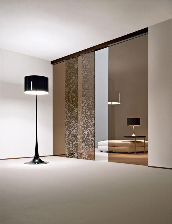 Tripla porta scorrevole esterno muro Classic, vetro bronzo ...