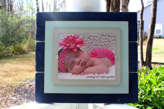 Distressed Frames, 8x10 Rustic Wood Picture Frame, Navy Blue ...