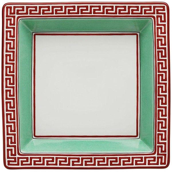 Richard Ginori 1735 Home Giardino Dei Semplici Square Key Tray (€185) ❤ liked on Polyvore featuring home, home decor, small item storage, green, richard ginori, square tray, handmade home decor and green home decor