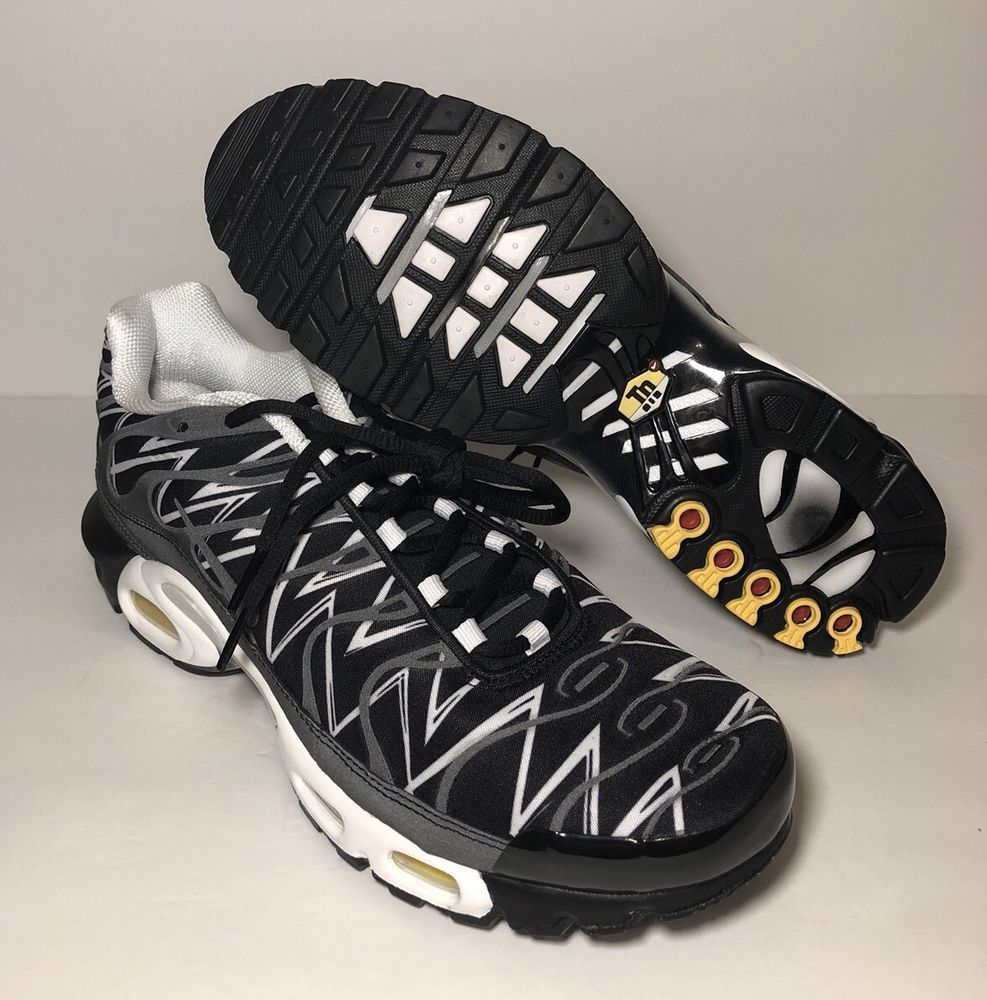 6c11d7dc3a NIKE AIR MAX PLUS TN Size 12 BLACK SHARK 3M Reflective AJ6311 001 ...
