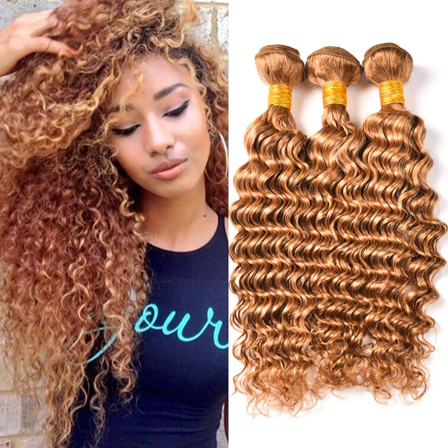 Just Wome #27 Mongolian Deep Wave Hair 3 Bundles Honey Blonde Color Human Hair With Closure Non Remy Curly Hair Extensions 3/4 Bundles With Closure Hair Extensions & Wigs
