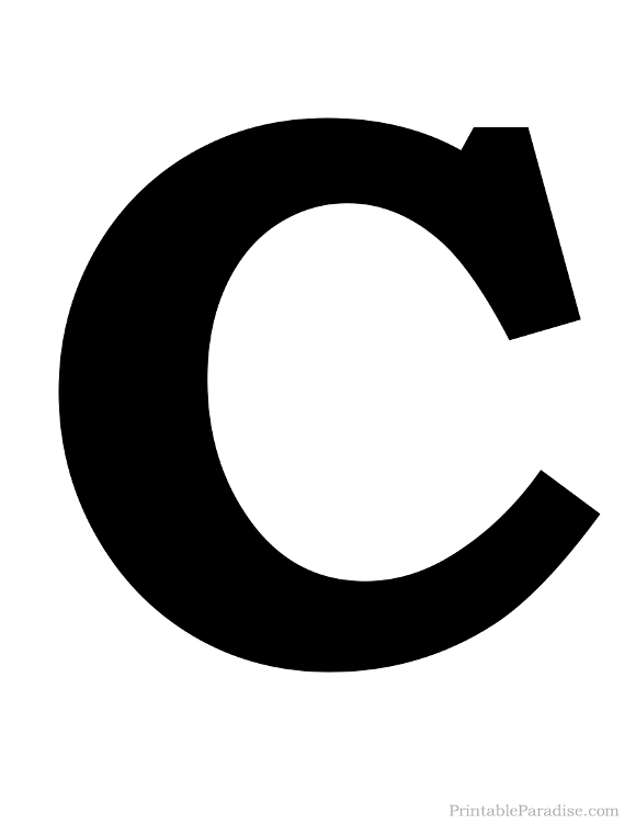 Printable Solid Black Letter C Silhouette
