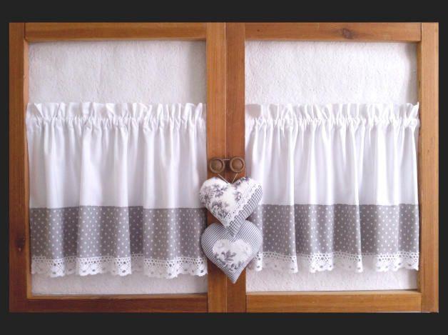 2er Set Landhausgardinen Aus Baumwolle Mit Spitze Und Mit 2 Herzen Fenstergardinen Kurzgardinen Grau Weiss Mit Punkt Country Curtains Curtains Curtains Bedroom