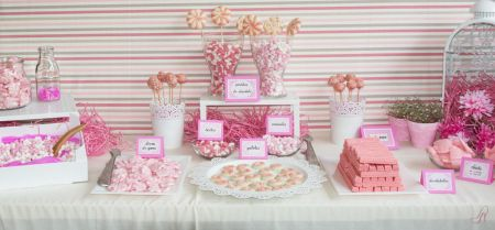 Resultado de imagen de mesas de chuches rosa
