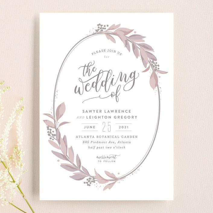 "Photo of ""Modern Wreath"" – Customizable Wedding Invitations in Green by Hooray Creative."