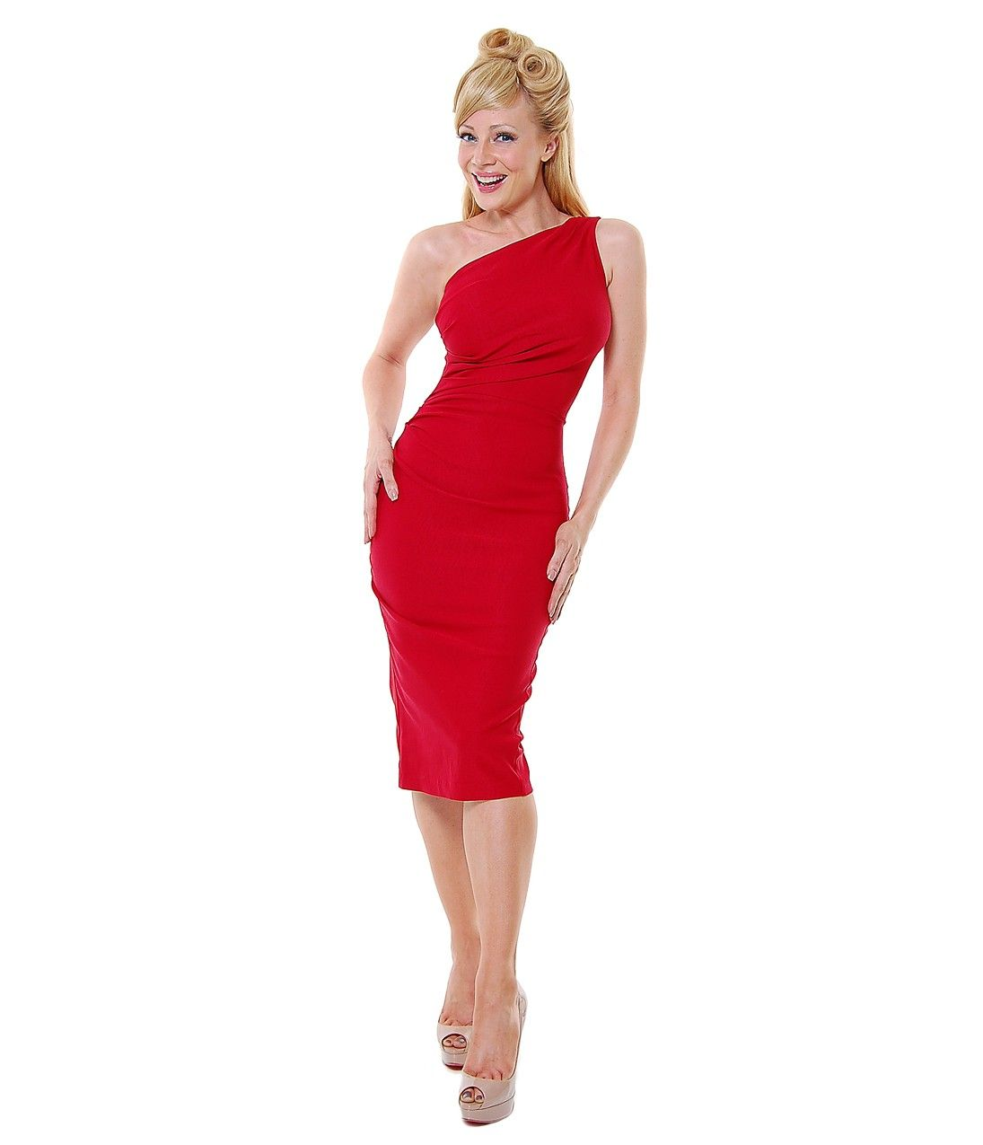 Stop staring gathered ava red single shoulder s style dress