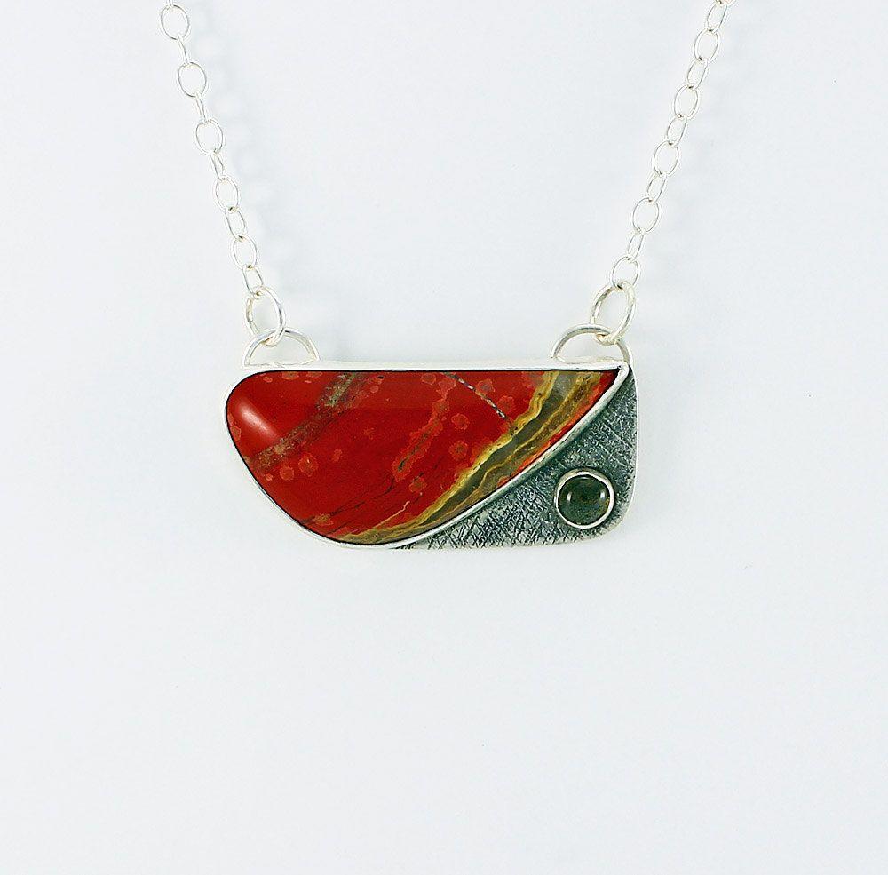Handcrafted Sterling Silver Red Jasper Labradorite Pendant Designer