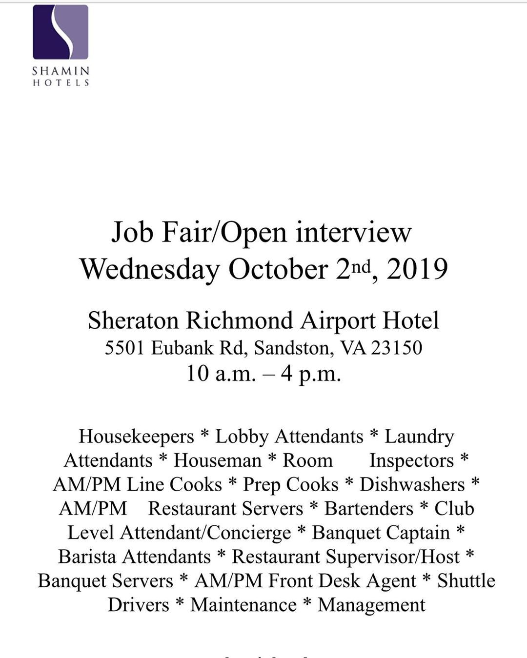 Attention Shamin Hotels Job Fair Open Interview We Are Having A