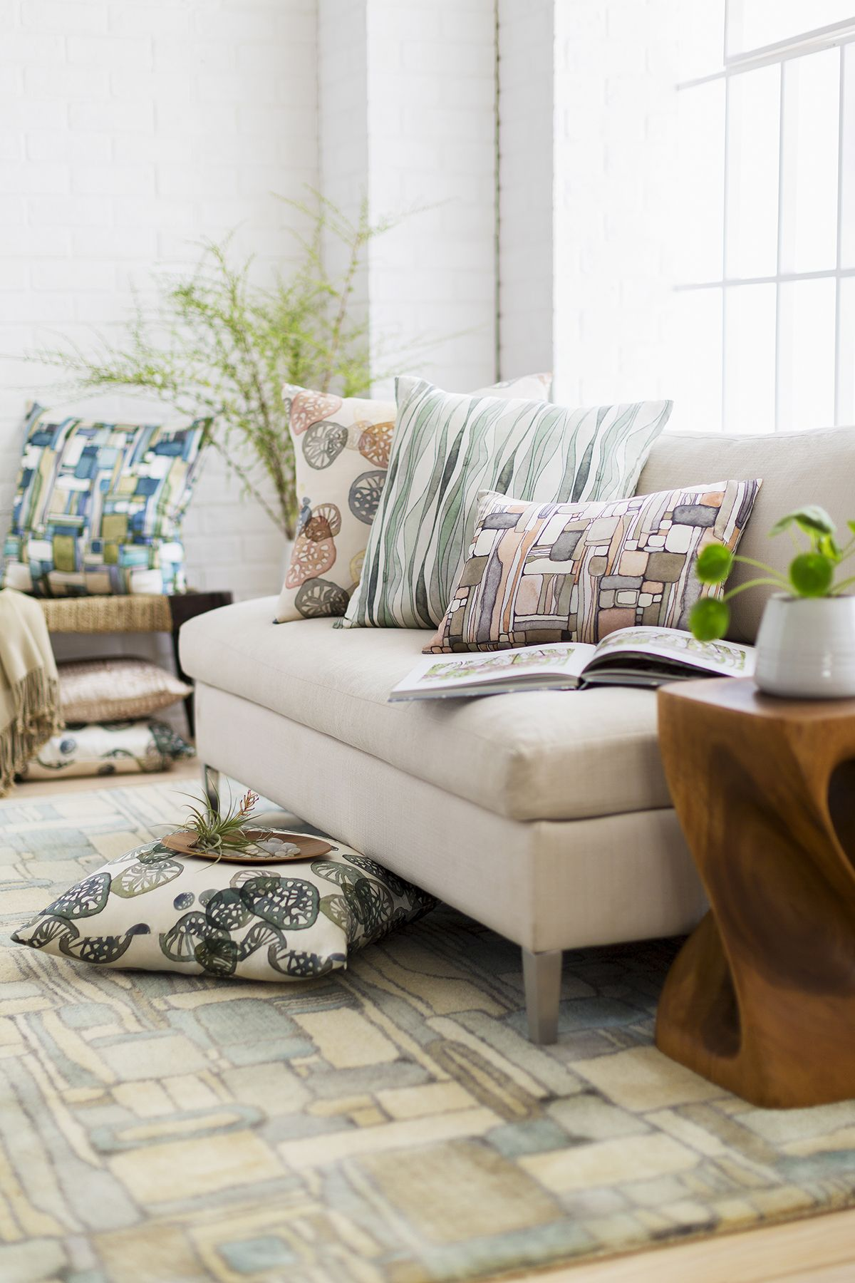 Surya's latest design partner, @shellrummel,, has been a successful artist and designer for over 20 years. Shell's rug and pillow designs feature a mix of softly serene, organic concepts as well as quietly elegant designs, directly inspired by elements found in nature.