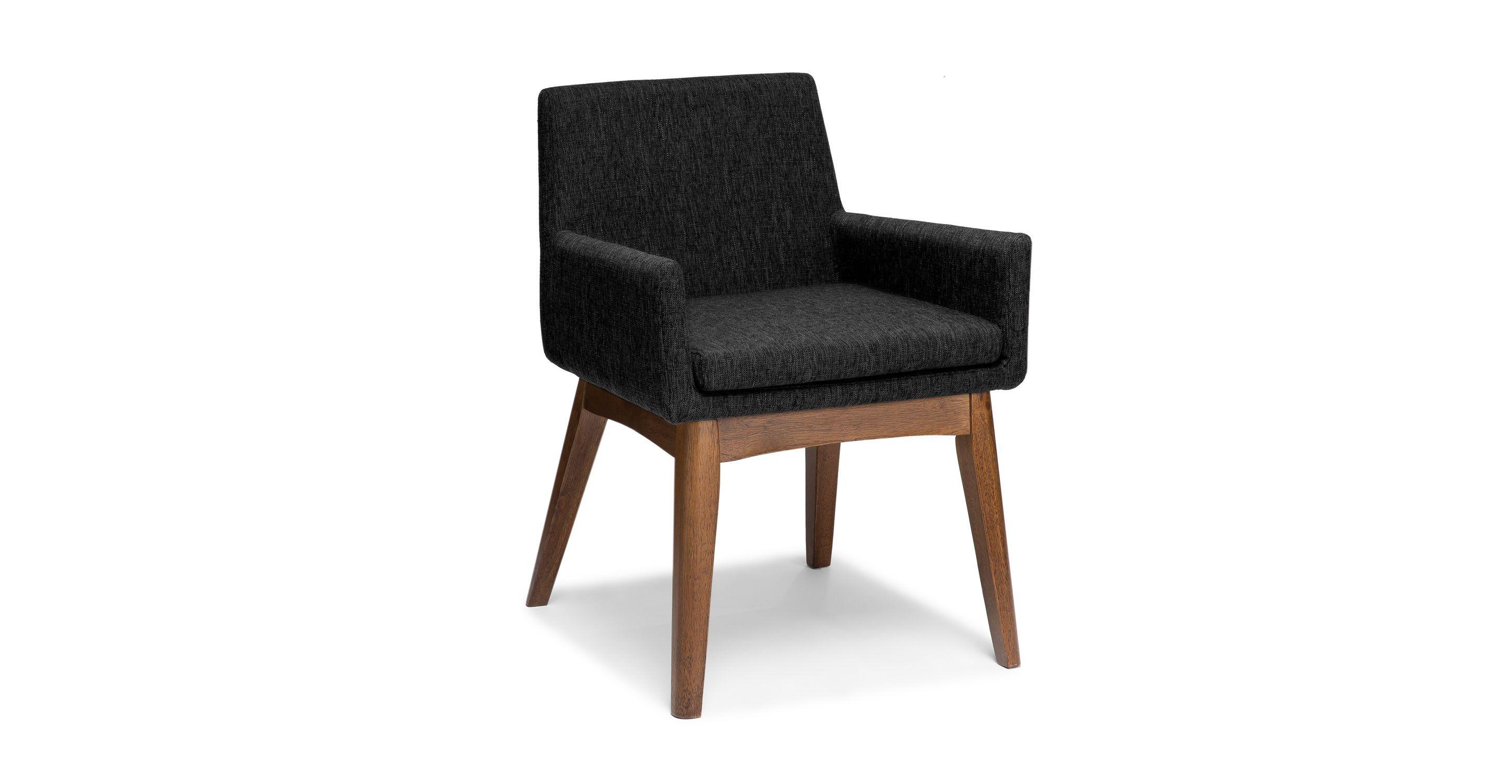 2 x Dark Gray Dining Armchair Solid Wood Legs