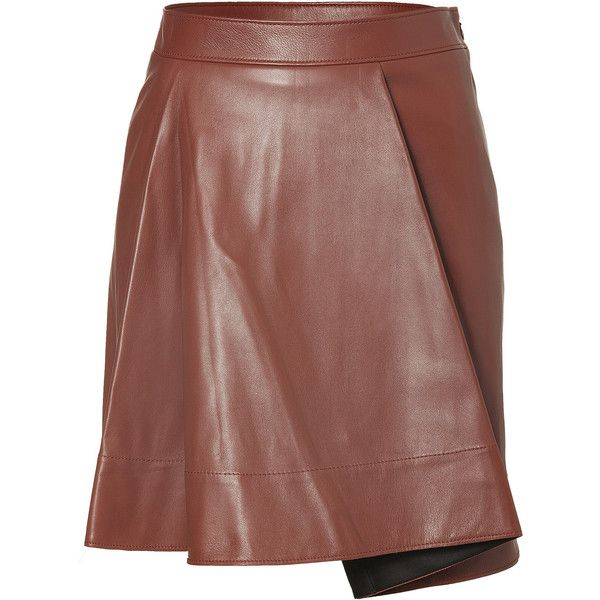 3.1 Phillip Lim Leather Flare Skirt (39800 DZD) ❤ liked on Polyvore featuring skirts, brown, circle skirt, flared skirt, fitted skirts, brown skater skirt and skater skirt