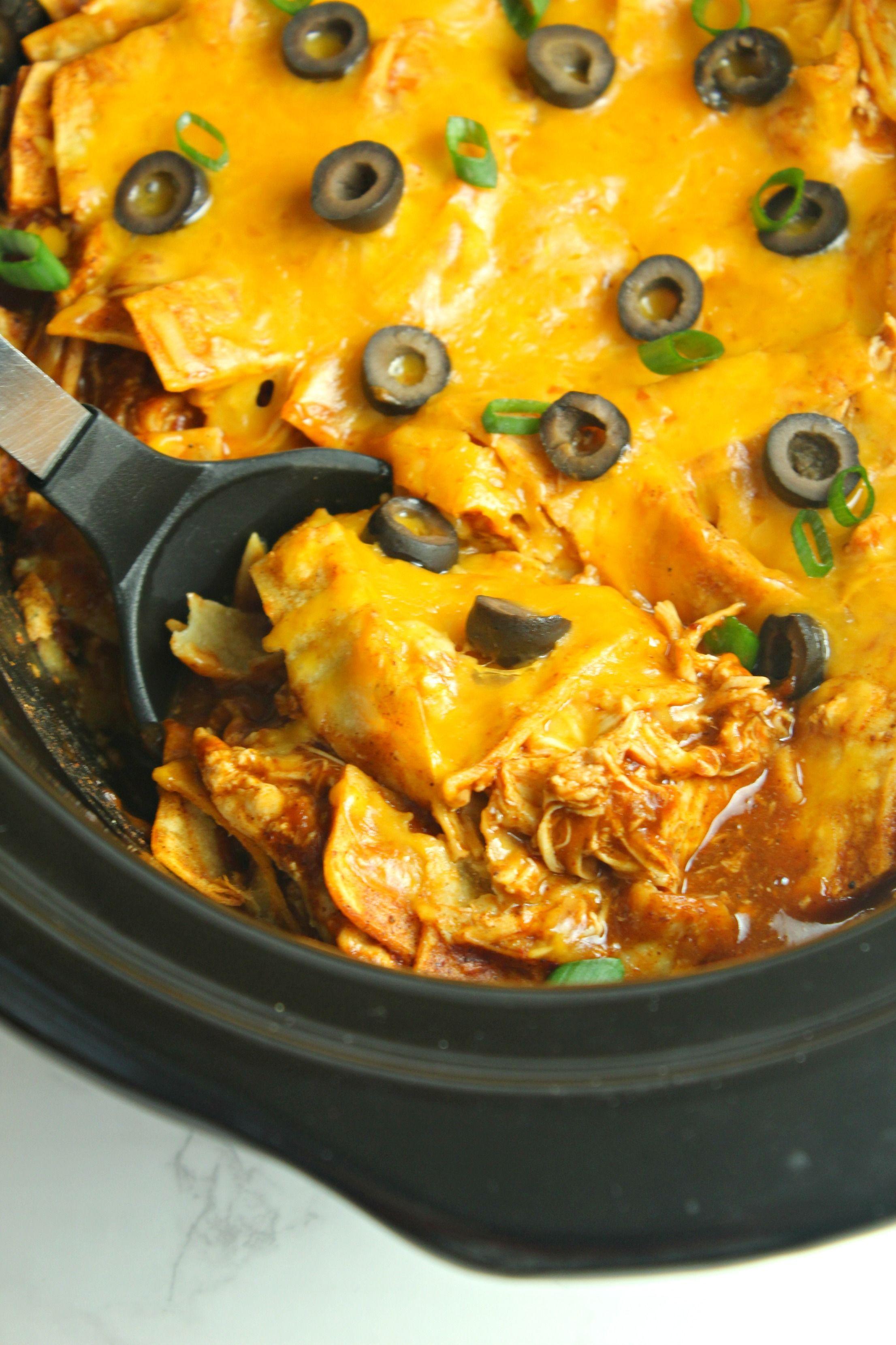 Photo of Slow Cooker Chicken Enchilada Casserole