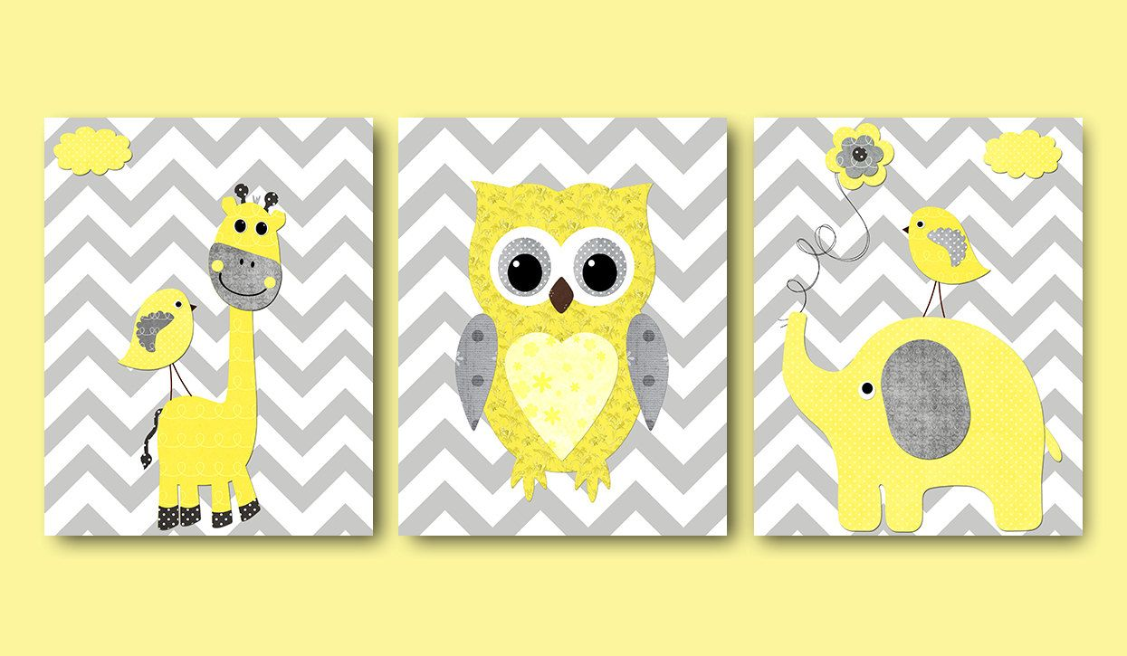 Giraffe Elephant Owl Canvas Art Yellow and Gray Nursery Wall Art ...