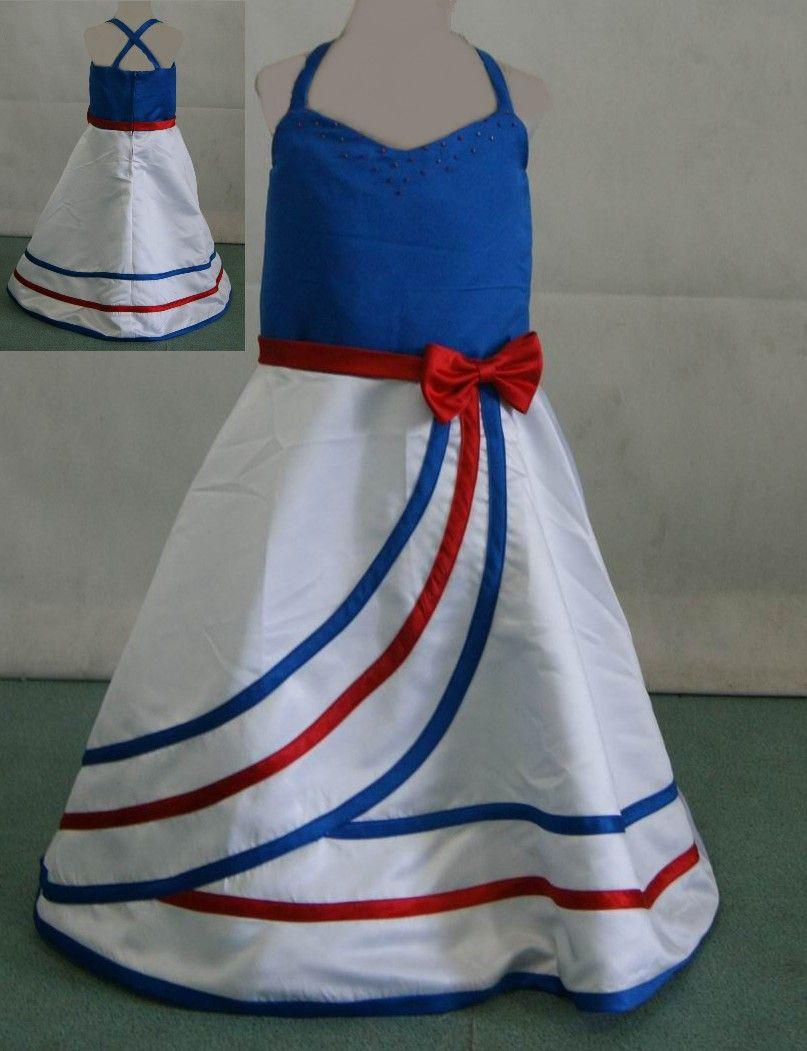 Minnie Top 4th July Patriotic Star Red Blue Lacing Satin Trim Girls Skirt NB-8Y