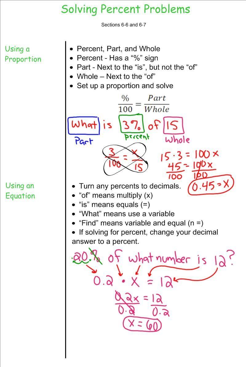 Solving Percent Problems - 7th Grade Pre-Algebra - Mr. Burnett   Studying  math [ 1192 x 800 Pixel ]