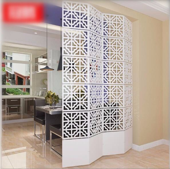 Modern Simple A Living Room Hanging Folding Screen Hollow White Dining Room Partition Metal Room Divider Decorative Screens Divider Folding Screen Room Divider